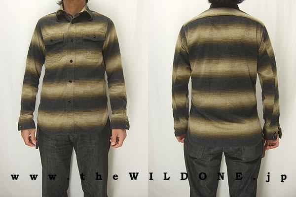 cushman クッシュマン 25335 【オンブレーボーダー Wフラップワークシャツ <BROWN>】