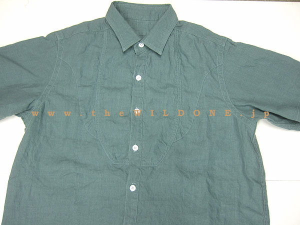BLACK SIGN ブラックサイン bssh-11102B Crash Linen Fancy Bosom Shirt [MUD GREEN マッド・グリーン]