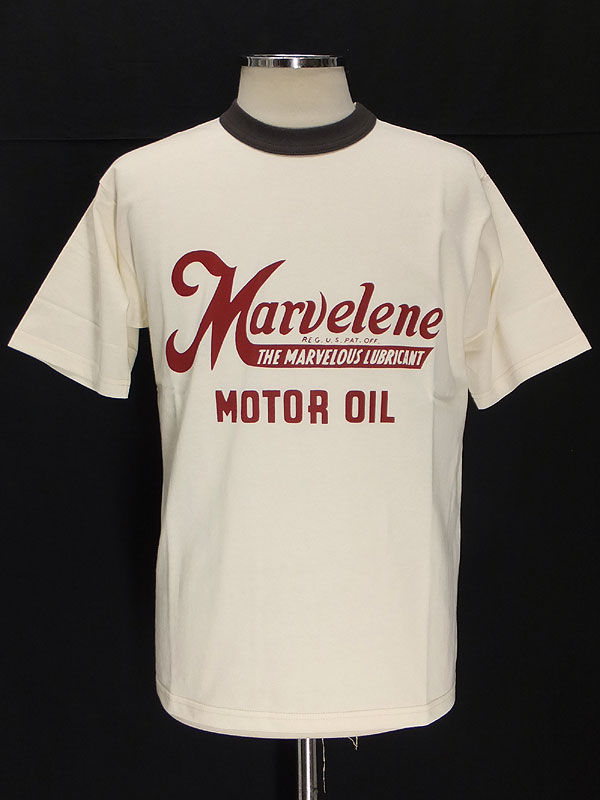Freewheelers フリーホイーラーズ 2012新ミディアムウェイト半袖Tシャツ【MARVELENE <OFF-WHITE x CHARCOAL BLACK>】