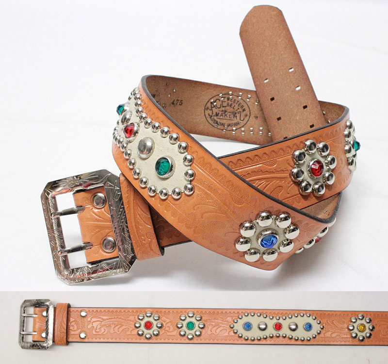 """ACE WESTERN BELTS 【Style No. 181 """"Style 1940's STUDDED AND JEWELED"""" <RUSSET>】 エースウエスタンベルト 【No.181 (1940's デザイン)  <ラセット>】"""