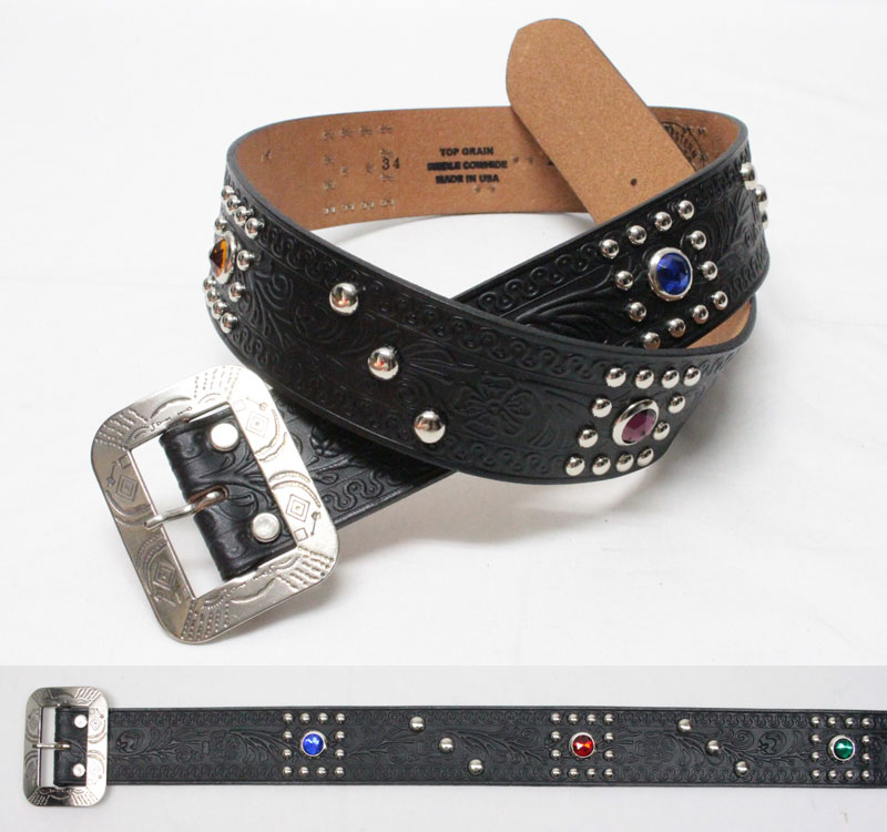 """ACE WESTERN BELTS 【Style No. 200 EARLY """"Style 1930's STUDDED AND JEWELED"""" <BLACK>】 エースウエスタンベルト 【No.200 EARLY 1930'sスタイル <ブラック>】"""
