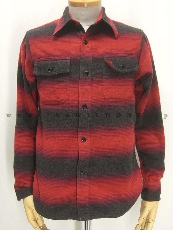 cushman クッシュマン 25335 【オンブレーボーダー Wフラップワークシャツ <RED>】
