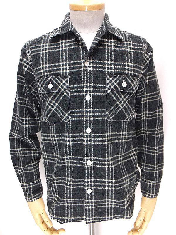 cushman クッシュマン 25356 【プリントチェック オープンワークシャツ <BLACK>】 チェックプリント ライトウェイトネル オープンカラーワークシャツ<ブラック>