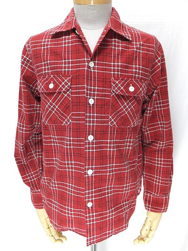 cushman クッシュマン 25356 【プリントチェック オープンワークシャツ <RED>】 チェックプリント ライトウェイトネル オープンカラーワークシャツ <レッド>