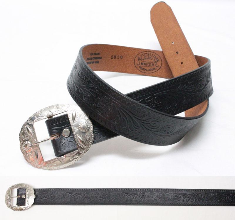 """ACE WESTERN BELTS 【Style No. 900C EARLY <BLACK>】 エースウエスタンベルト 【No.900C """"アーリー"""" (38mm幅 スタッズ無し) <ブラック>】"""