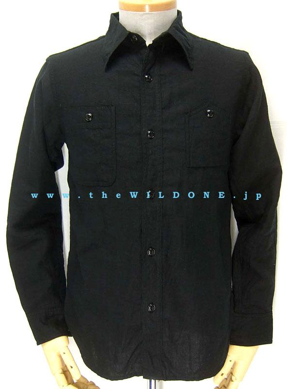"cushman WS002【""the WILD ONE 別注"" リネン100%長袖ワークシャツ <BLACK>】"