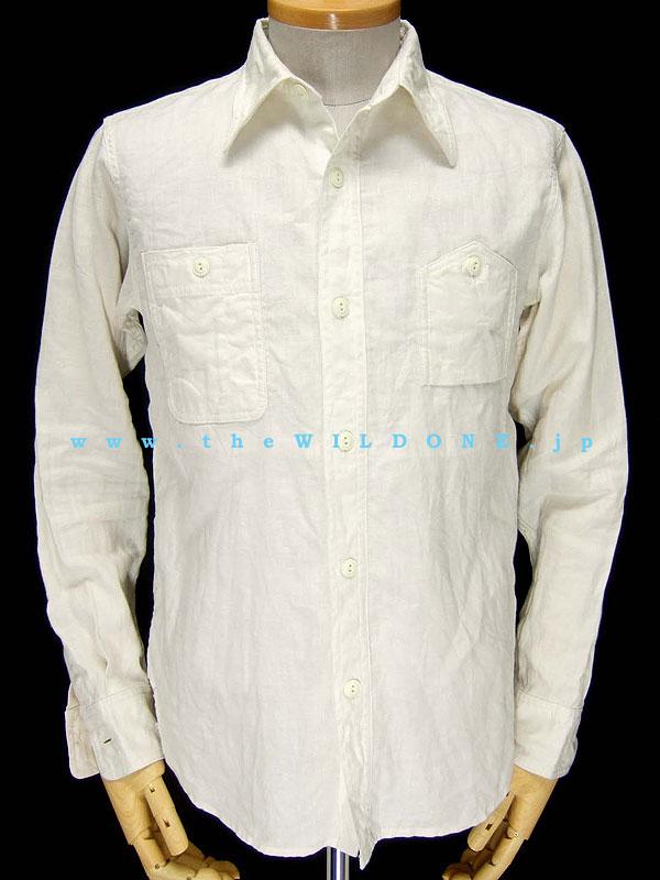 """cushman WS001【""""the WILD ONE 別注"""" リネン100%長袖ワークシャツ <WHITE>】"""