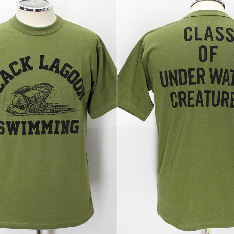 フリーホイーラーズ ライトウェイトTシャツ 【ブラックラグーンスイミングクラブ <オリーブ>】 FREEWHEELERS 2025004 Light Weight Tee 【BLACK LAGOON SWIMMING CLUB <OLIVE>】