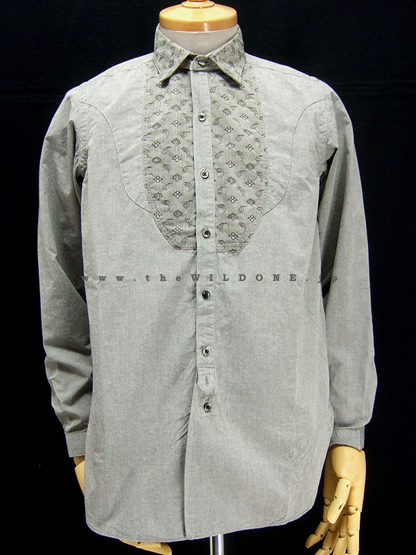 BLACK SIGN ブラックサイン bsfl-10112B 【Fancy Bosom Unlaundered Shirt <RAT GRAY>】