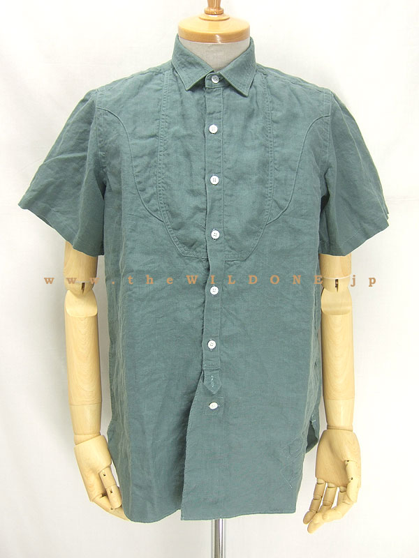 BLACK SIGN ブラックサイン bssh-11102B Crash Linen Fancy Bosom Shirt [MUD GREEN マッド・グリーン]