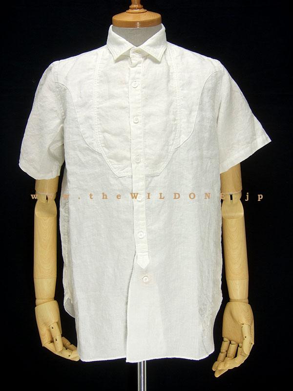 BLACK SIGN ブラックサイン bssh-11102B Crash Linen Fancy Bosom Shirt [SALT WHITE ソルトホワイト]