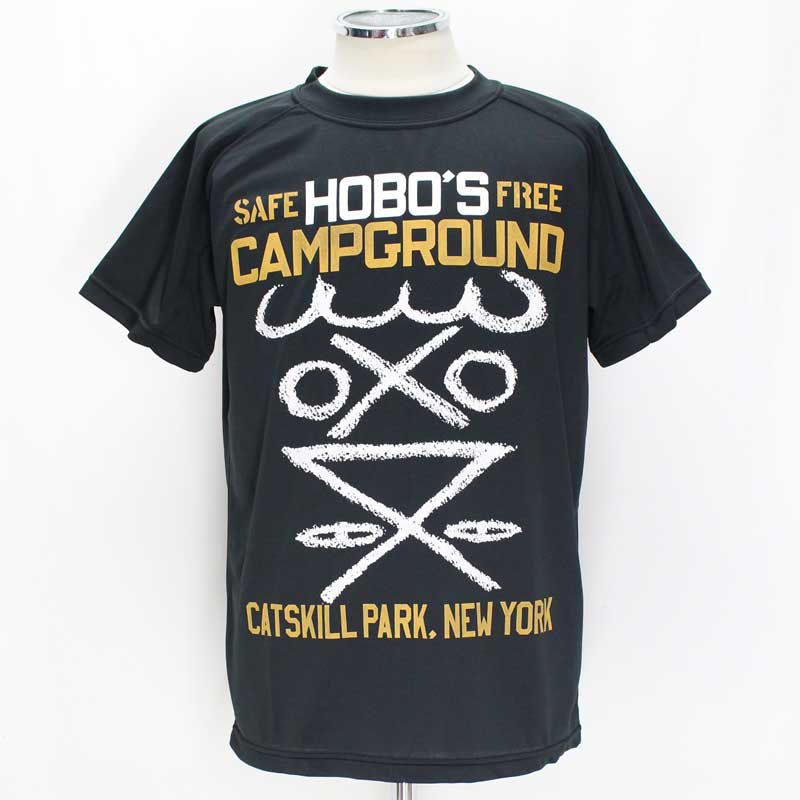 ボーズグラッドラグス 'BO'S GLAD RAGS Mid 1960's Poly-Mesh Campground Tee 【HOBO'S CAMPGROUND in Catskill Mt. <BLACK>】