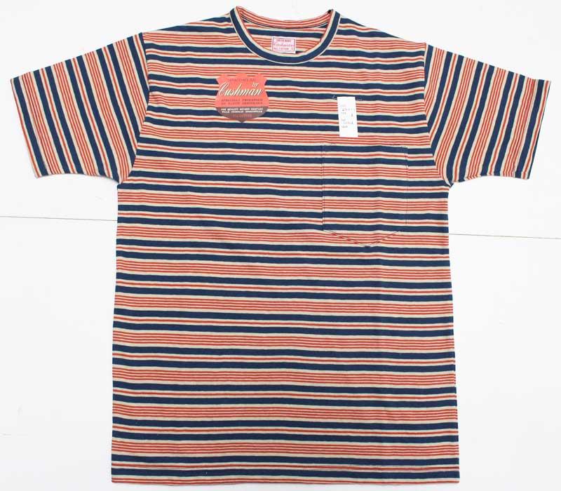 クッシュマン 【26467 ボーダーポケットTシャツ <オレンジ x ブルー>】 cushman 【26467 BORDER POCKET TEE <ORANGE x BLUE>】