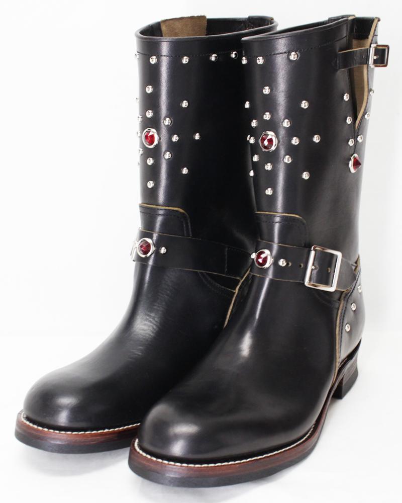 ダッパーズ 【LOT1142A 40's スタイルエンジニアブーツ+ヒール装飾 <茶芯の黒>】 Dapper's 【40's Style Engineer Boots Lot1142A <BROWN BASED BLACK>】