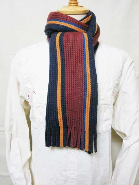 ダッパーズ 【LOT1279 ラッセルニッティングスカーフ (マフラー)<パープルネイビーxイエロー ストライプ>】 Dapper's 【Russell Knitting Scarf by V.FRAAS LOT1279 <P.NAVYL/YELLOW>】