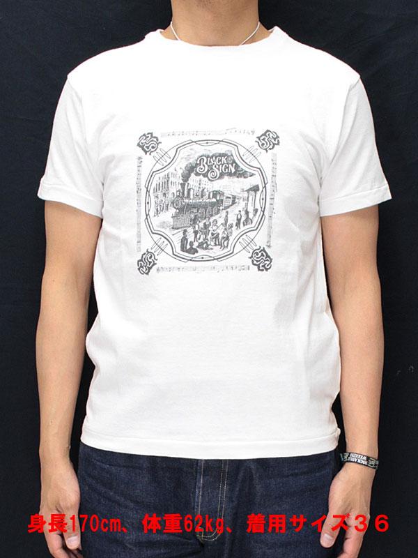 ブラックサイン プリントTシャツ bssn-14310B 【ドリームトレイン <ソルトホワイト x ブラック>】 BLACK SIGN  S/S T-shirts bssn-14310B 【DREAM TRAIN <SALT WHITE x BLACK>】