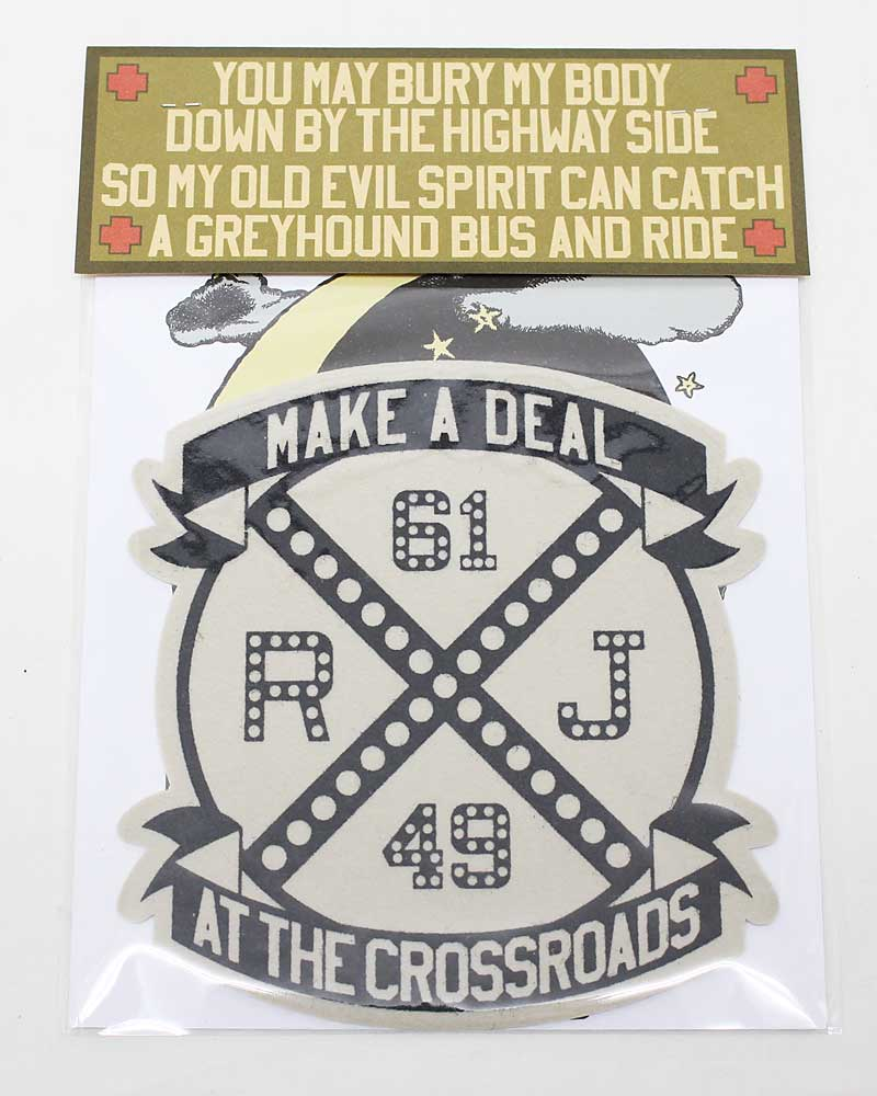 """ボーズグラッドラグス 【ハンドメイドフェルトワッペン """"クロスロード"""" <グレーベージュ>】 'BO'S GLAD RAGS 【HANDMADE FELT PATCH """"Make A Deal At The Crossroads""""<GRAY BEIGE>】"""