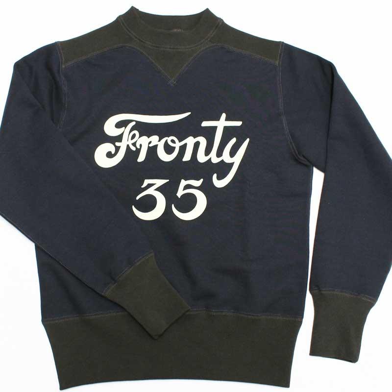 """フリーホイーラーズ 【アスレチックスウェットシャツ """"フロンティ 35""""<ネイビーxブラック>】 FREEWHEELERS 【COLORED TRIMMED SWEAT SHIRTS """"FRONTY #35""""<JET NAVY x SOOT BLACK>】"""