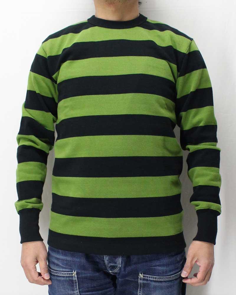 ウエストライド 【ヘビーボーダー ロングTシャツ <19SS : ブラック x グリーン>】 WEST RIDE 【HEAVY BORDER LONG TEE <19SS : BLACK x GREEN>】