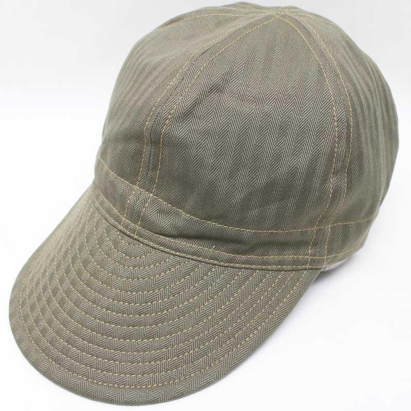 フリーホイーラーズ 【メカニックキャップ <オリーブ ヘリンボーン>】 FREEWHEELERS 30-40's civilian military style work cap 【MECHANIC CAP <OLIVE HERRINGBONE>】