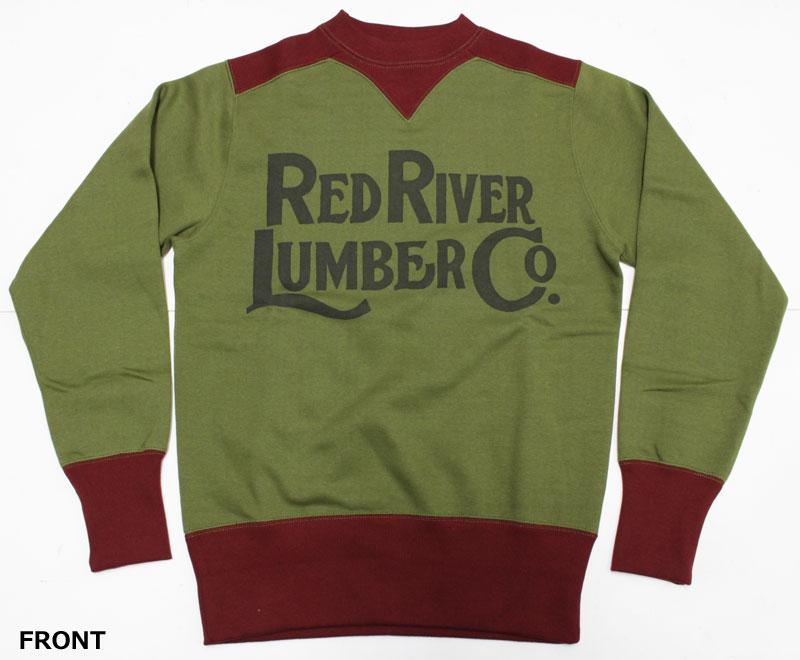 """フリーホイーラーズ 【スウェットシャツ """"レッドリバーランバー""""<オリーブ x クリムゾン>】 FREEWHEELERS 【COLORED TRIMMED SWEAT SHIRTS """"RED RIVER LUMBER"""" <OLIVE x CRIMSON>】"""