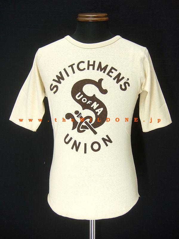 FREEWHEELERS【POWER WEAR】ミディアムウェイト5分袖Teeシャツ 「SWITCHMAN 1937」ストロウクリーム