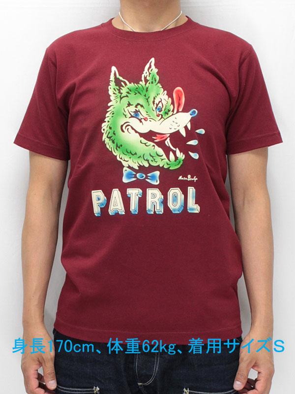 マサスカルプ 半袖 Tシャツ 【ウルフ パトロール <バーガンディ (ワイン) x フロッキー+エアブラシ>】 MASA SCULP S/S T-shirts 【WOLF PATROL <BURGUNDY x Airbrush on Flocky>】